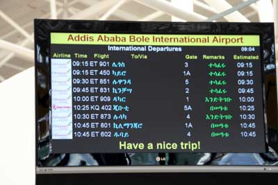 Addis Ababa Airport Departure