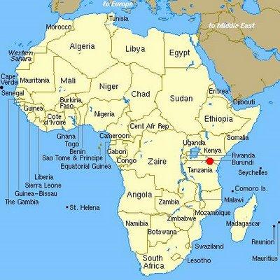 Tanzania On A Map Of Africa.Tanzania